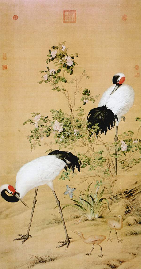 calligraphy and painting antique (red-crowned crane)